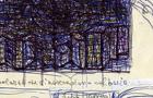 Bozzetto Palazzi che si nascondono nel buio, 2001 - Penna e pennarelli su carta, cm 21x29,5
