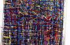 Bozzetto Ombre sulla città - 1998, pennarelli a tempera acrilica e pastelli su carta, cm 21x27,5