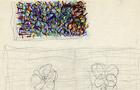 Bozzetto Vedo fiori - 1992, pastelli e penne colorate su carta, cm 21x29,5