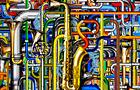 Le Tubature Sonore accompagnano il sax - 2012, computer grafica, cm 60x120