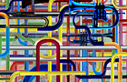 Tubature Sonore l'inizio - 2010, computer grafica, cm 80x100