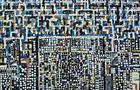 Palazzi in attesa - 2001, olio su tela e mosaico, cm 50x100