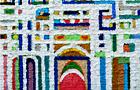 Piccolo tempio - 2008, acrilico su tela, cm 50x50