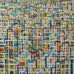 Pace in città - 2005, olio su tela, cm 155x155