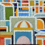 Preghiera in città - 2005, olio su tela, cm 40x30