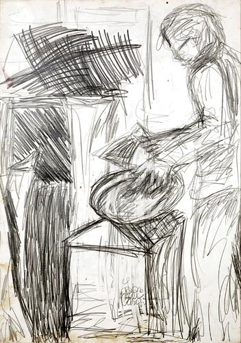 Tito in azione nello studio - 1984, ritratto a matita su carta, cm 70x50