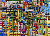 Le Tubature Sonore & Il Sottomarino Giallo - 2012, computer grafica, cm 80x110